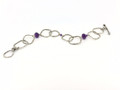 Amethyst/Sterling Silver Hammered Square Link Toggle Bracelet