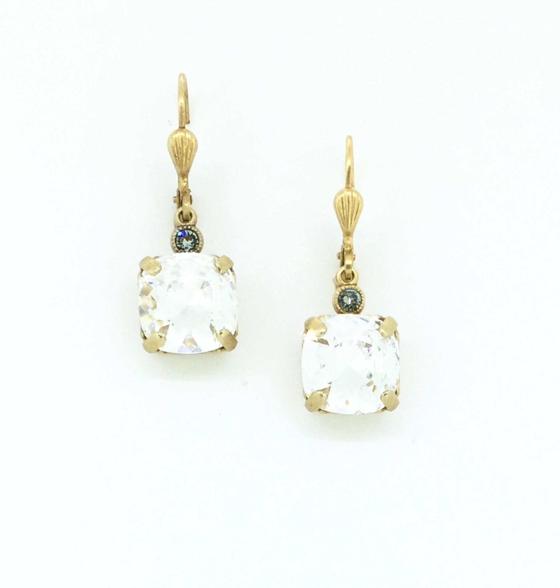 6f2cbe748335c Gold Square Clear Swarovski Crystal Earrings