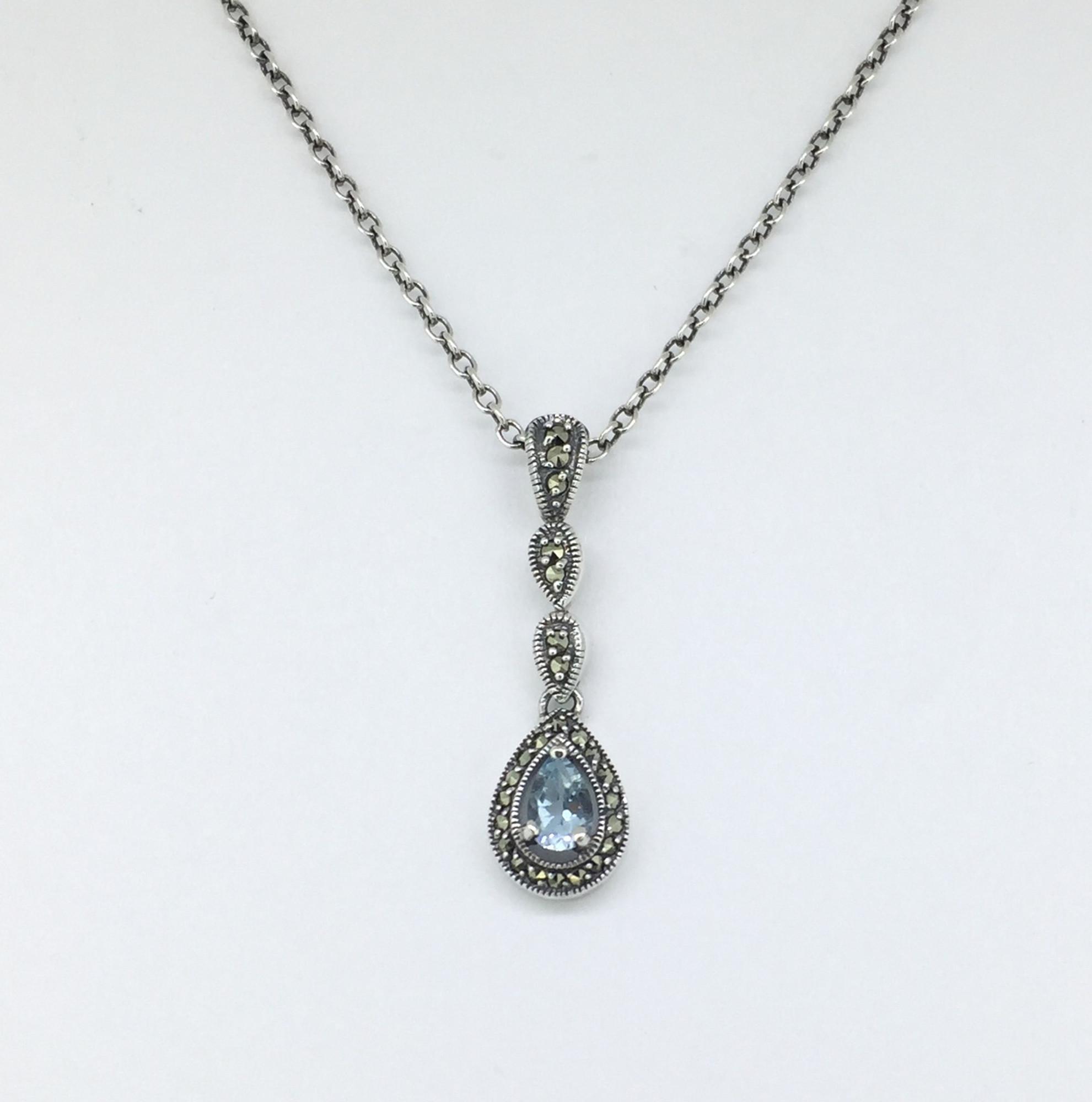Marcasite Teardrop Blue Topaz Necklace
