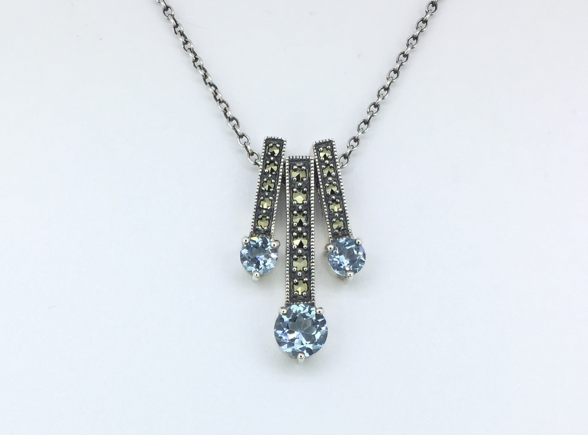 Triple Round Blue Topaz/Marcasite Necklace