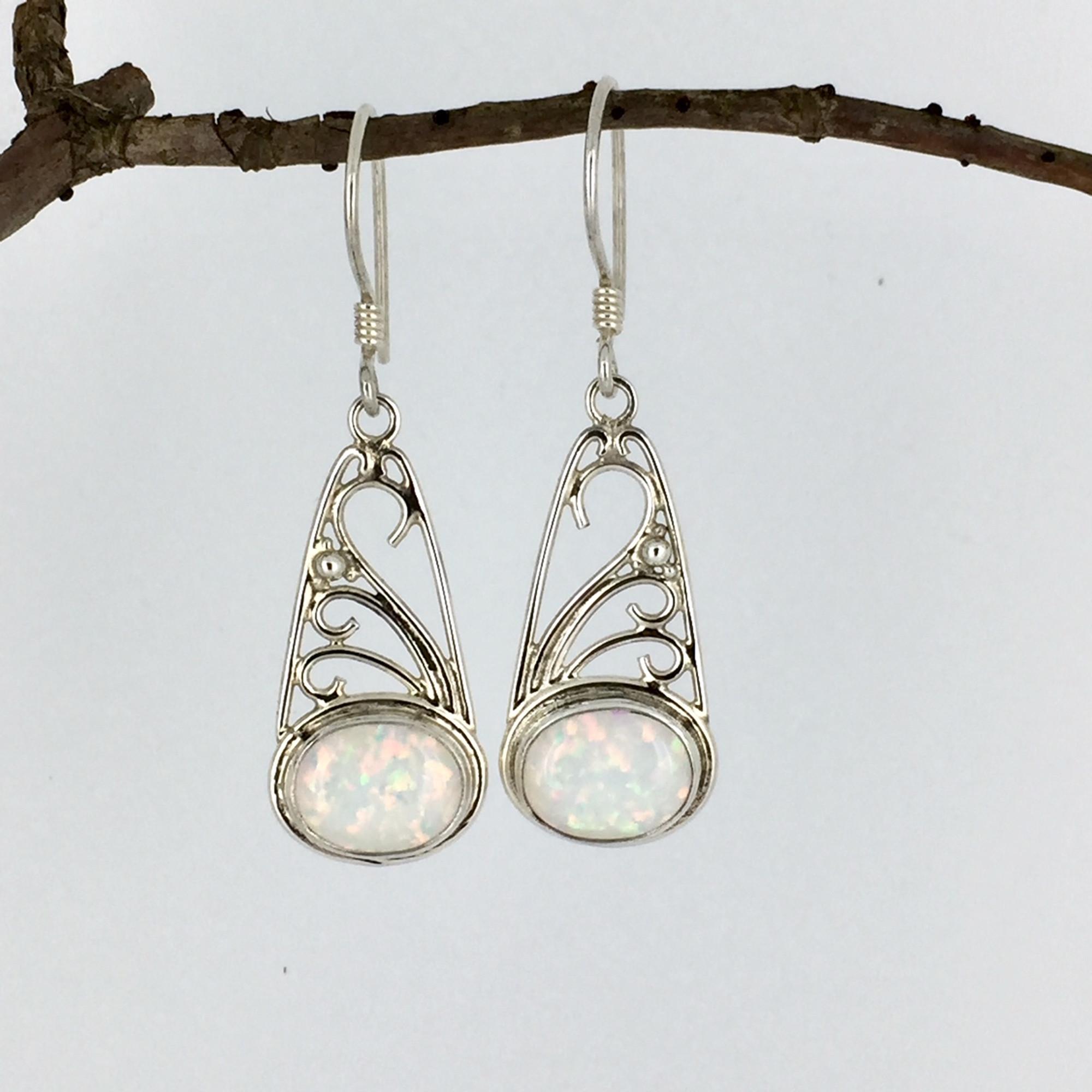 51fd17f39 Sterling Silver Filigree White Opal Wire Earrings - Mima's Of Warwick, LLC