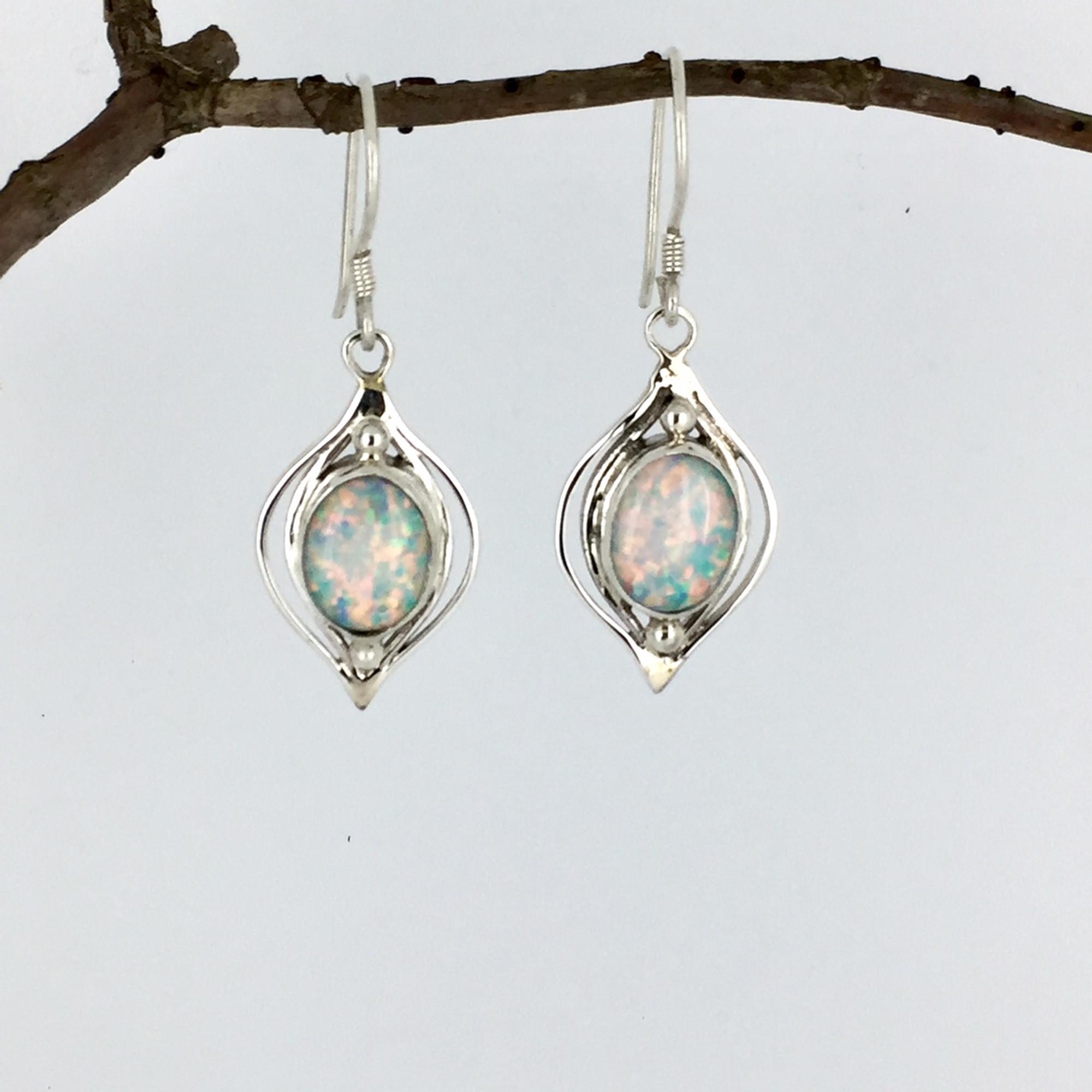 dd8843693 White Opal Oval Stone Sterling Silver Earrings - Mima's Of Warwick, LLC