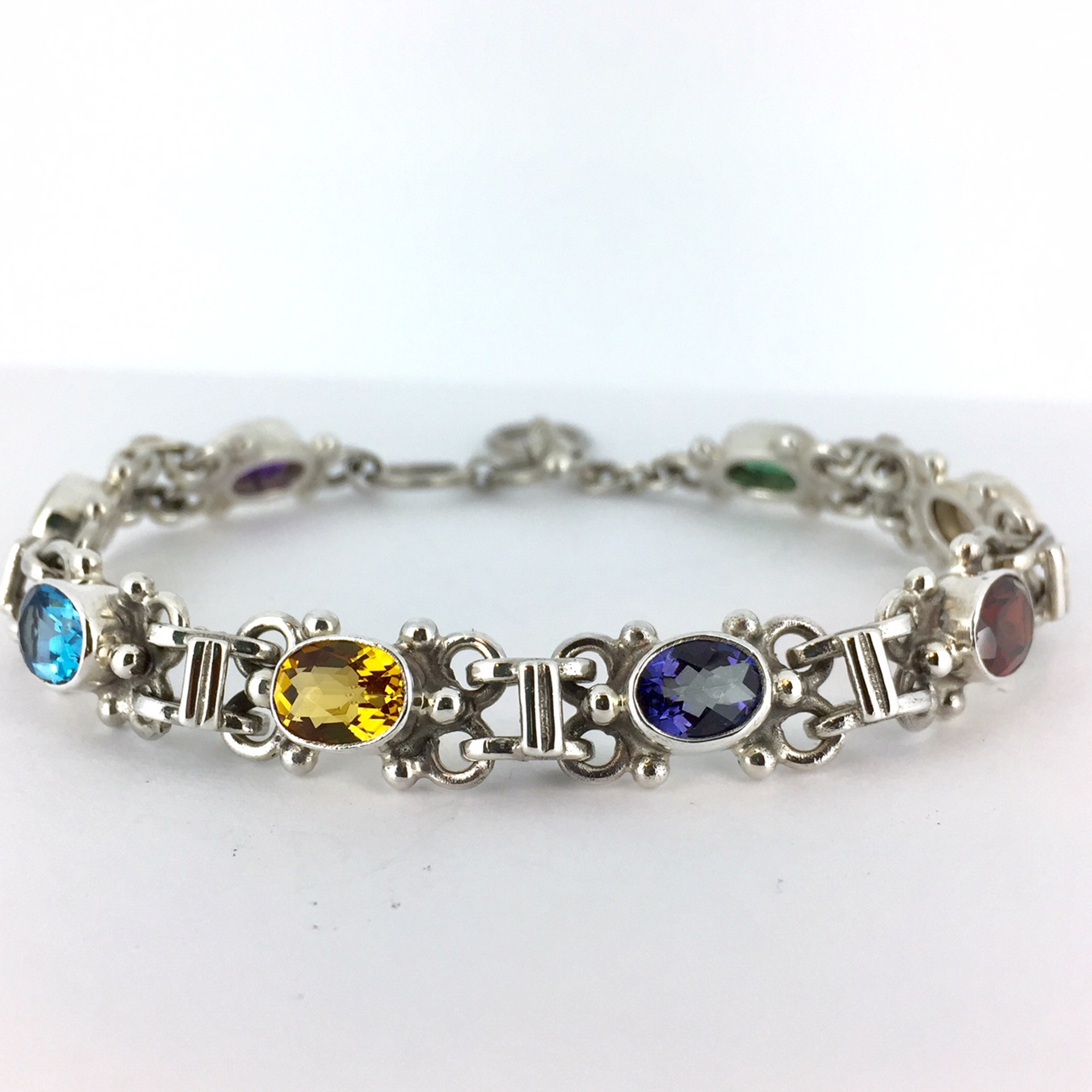 7aebb3249 Multi Stone Bali Sterling Silver Toggle Bracelet - Mima's Of Warwick, LLC