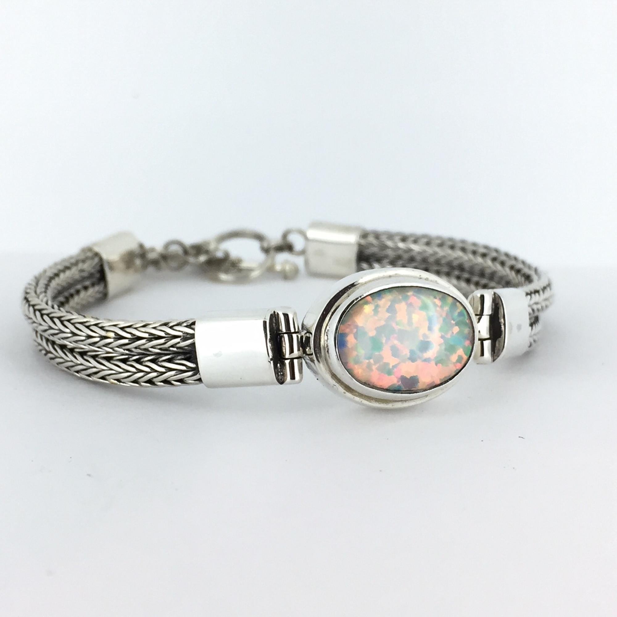 2204eb2e9 Sterling Silver White Opal Bali Toggle Bracelet - Mima's Of Warwick, LLC