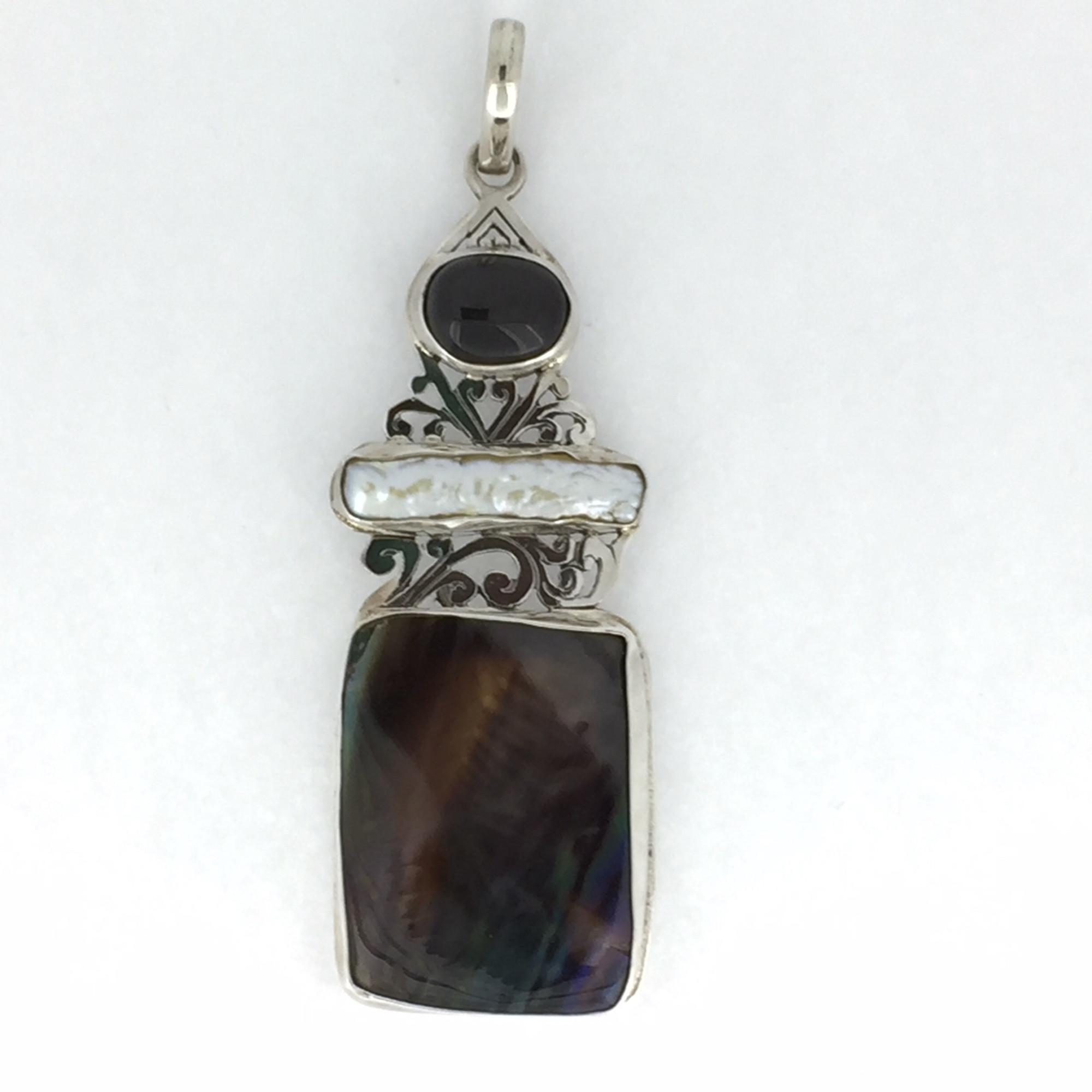 5825f9270 Sterling Silver Multi Stone Filigree Pendant - Mima's Of Warwick, LLC