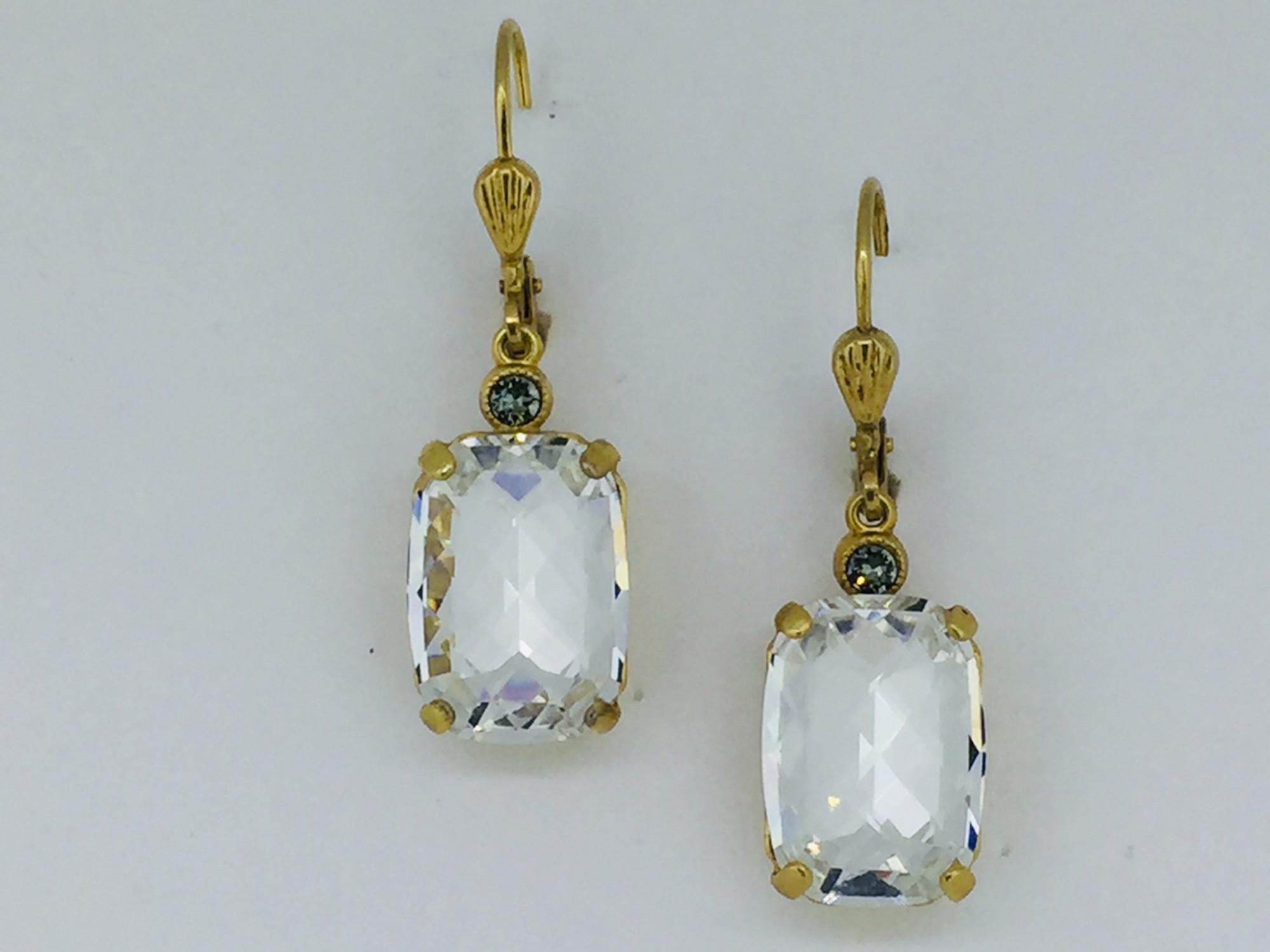 d344865f6 Gold Rectangle Clear Swarovski Crystal Earrings - Mima's Of Warwick, LLC