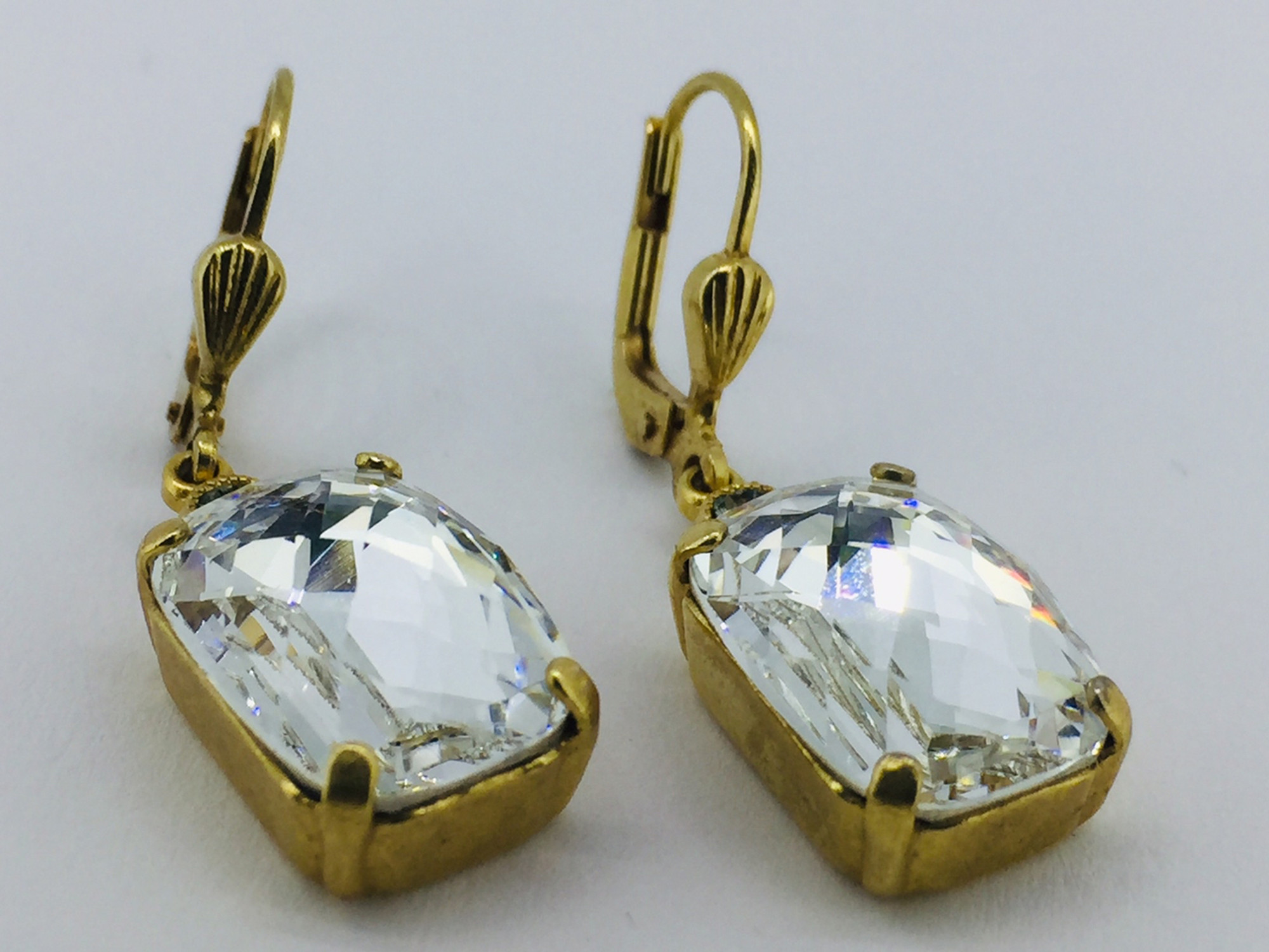c859c84f3 Gold Rectangle Clear Swarovski Crystal Earrings Gold Rectangle Clear Swarovski  Crystal Earrings