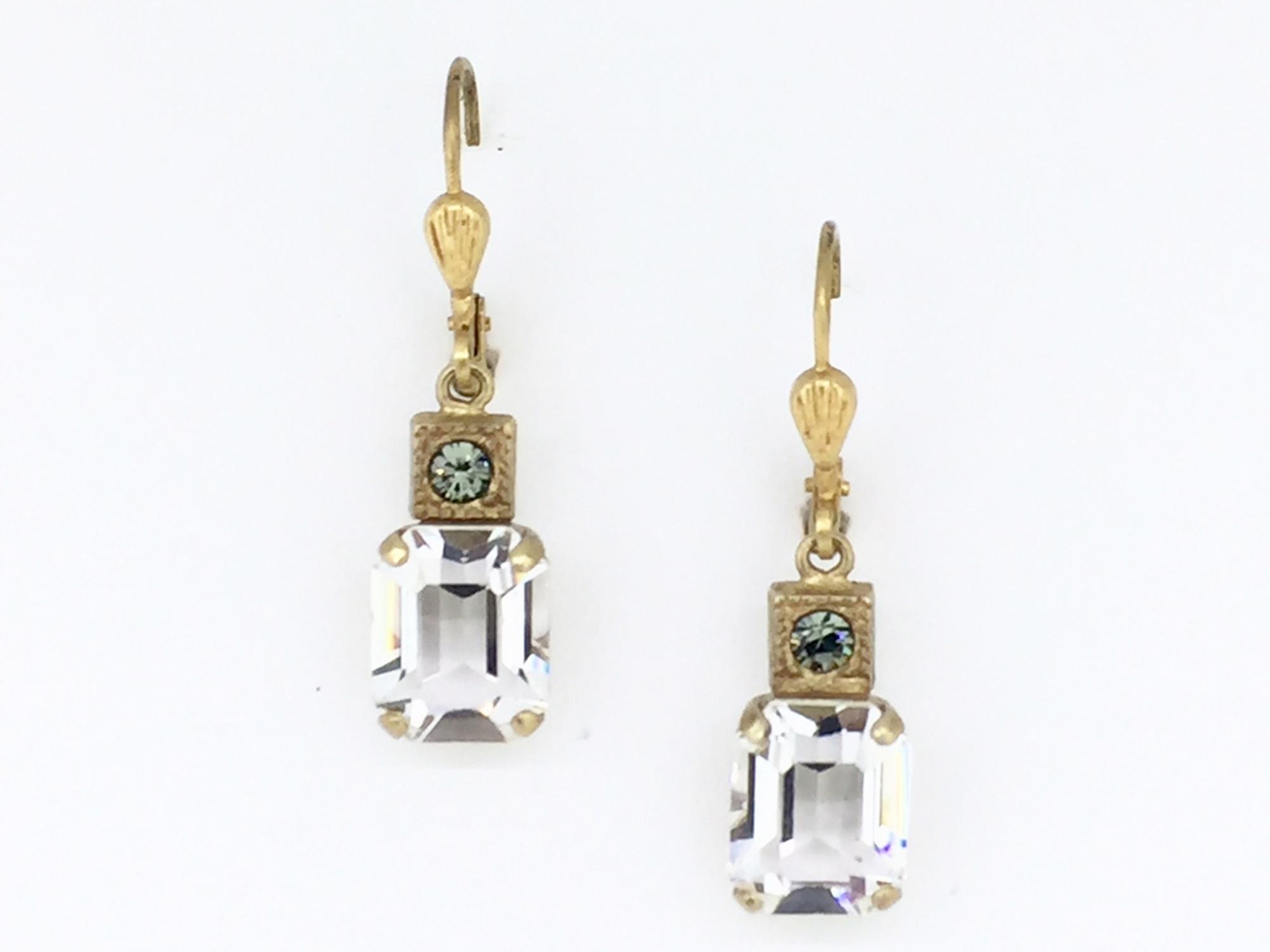 2245b236f Gold Clear Swarovski Crystal Rectangle Earrings - Mima's Of Warwick, LLC