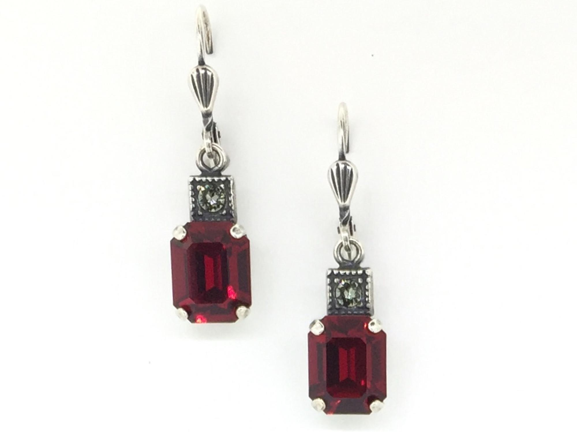 8adb71bd9 Small Silver Rectangle Siam Crystal Earrings - Mima's Of Warwick, LLC
