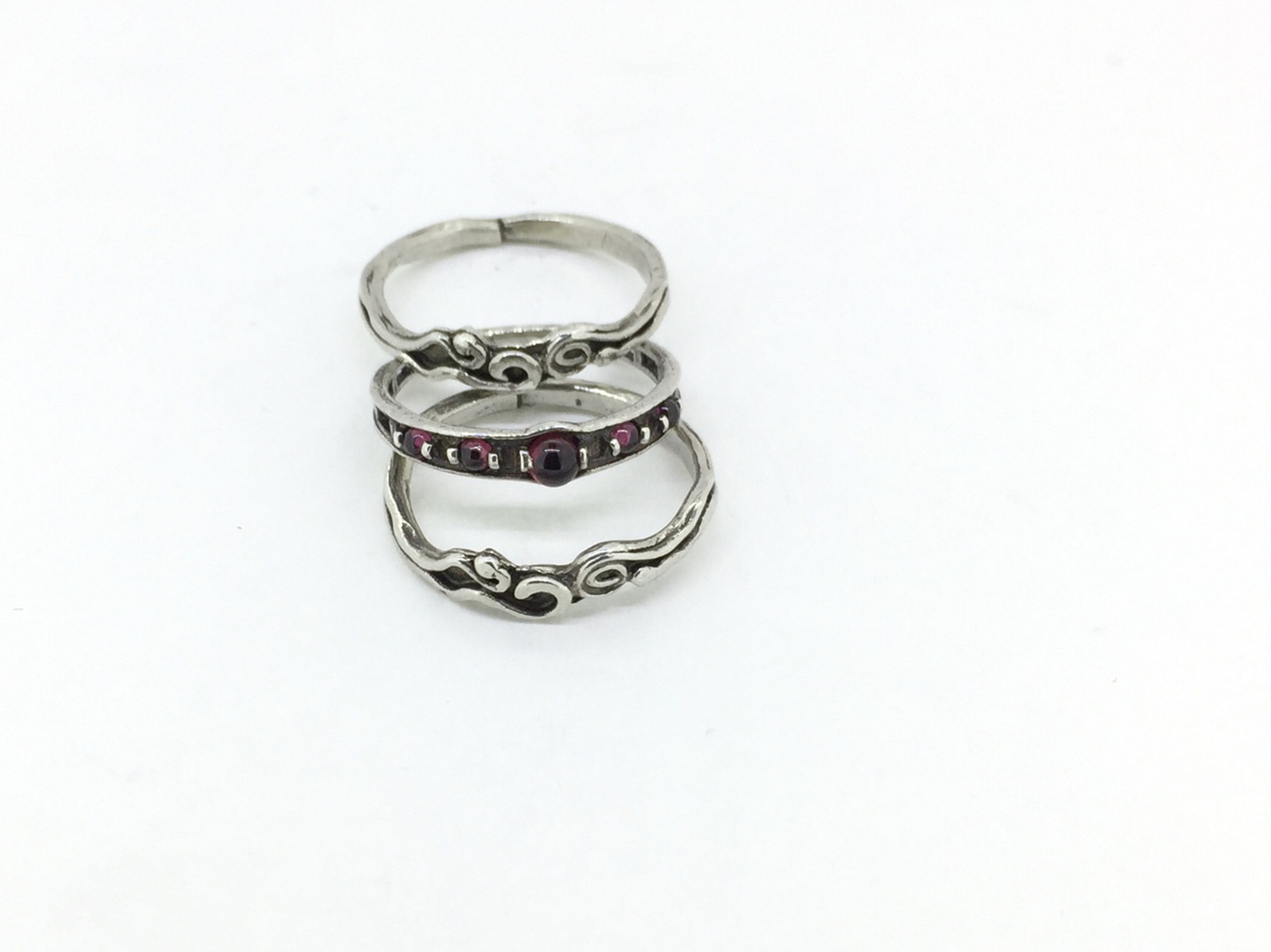 Made in USA #4020R8M1 2mm Garnet 3A CZ Stacking Ring Size 8 GP Sterling Silver