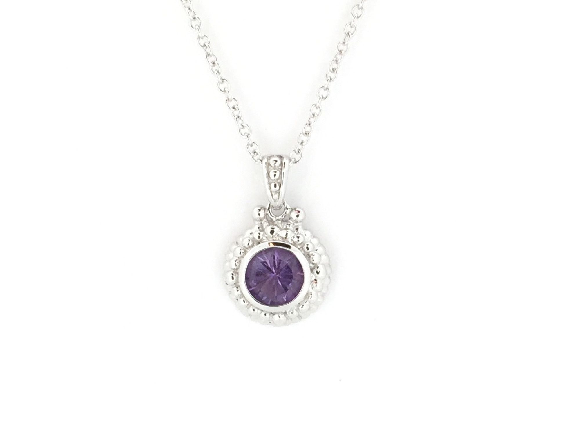 6a7fd50b7 Round Sterling Silver/Amethyst Necklace - Mima's Of Warwick, LLC