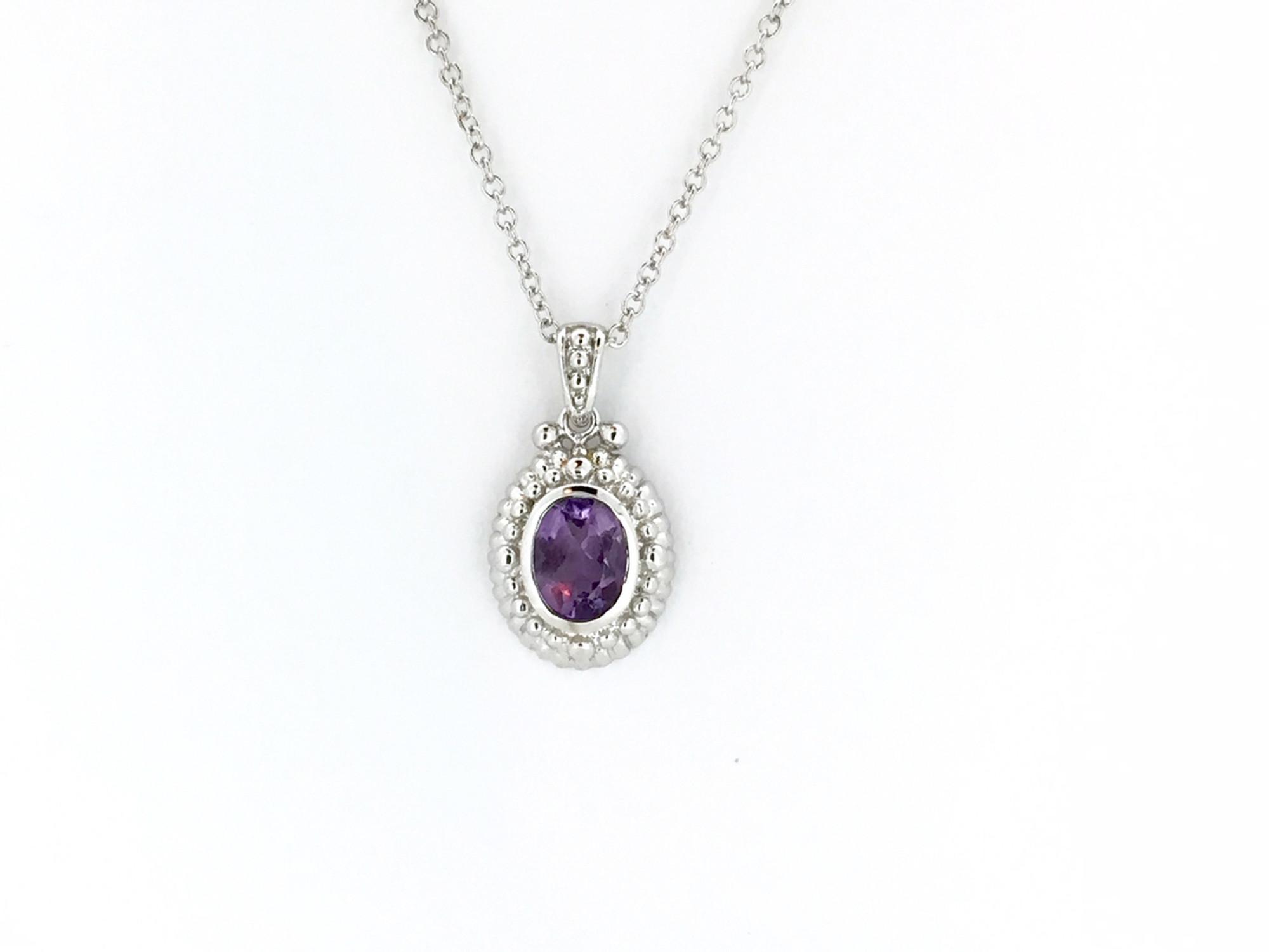 ebf006a0a Sterling Silver/Amethyst Oval Necklace - Mima's Of Warwick, LLC