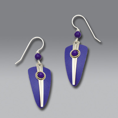 Long Blue Shield French Hook Earrings with Imitation Rhodium Stripe and Blue Cabochon