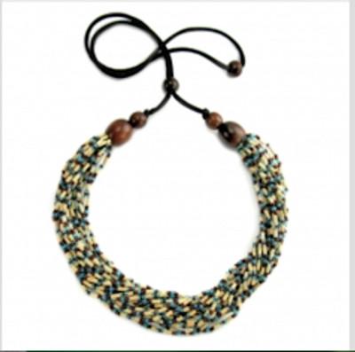 "Handmade Multi-Strand Zulugrass African Necklace ""Snake"""