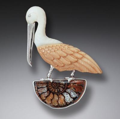 Moroccan Ammonite Fossilized Walrus Ivory Pelican Pin