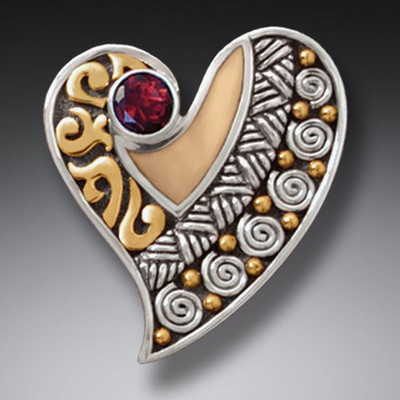 14kt Gold Sterling Silver Garnet and Ivory Heart Pendant/Necklace