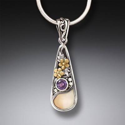 14kt Gold Sterling Silver Amethyst and Ivory Pendant/Necklace