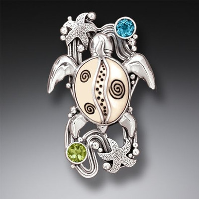 Sterling Silver Blue Topaz Peridot and Ivory Turtle Pin/Pendant
