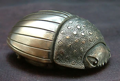 Beetle Palm Charm, Cold Cast Bronze