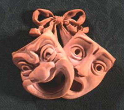 Comedy and Tragedy Wall Plaque shown in Terracotta finish