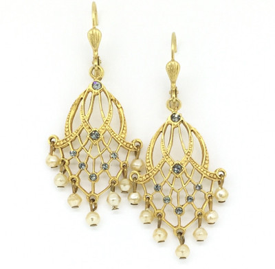 Gold Chandelier Pearl and Black Diamond Swarovski Crystals Earrings