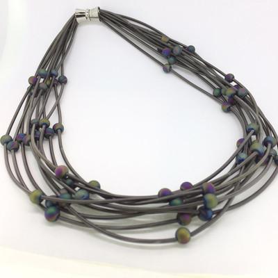 Multi-Strand Slate-Tone Piano Wire Necklace w/ Geode Beads