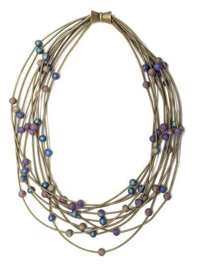 Multi-Strand Bronze-Tone Piano Wire Necklace w/ Geode Beads