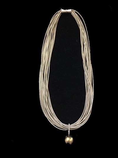 Multi Strand Silver Piano Wire Necklace w/ Single Pearl Drop