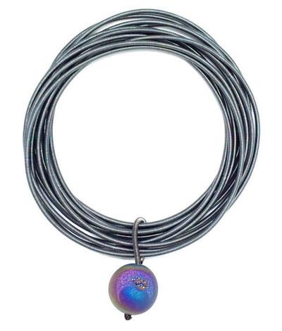 Slate Tone Piano Wire Bracelet w/ Geode Stone
