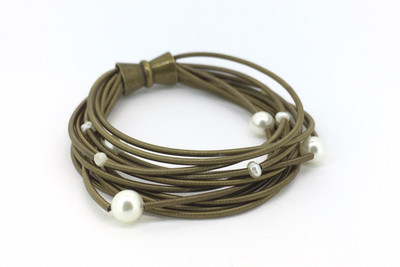 Bronze Tone Piano Wire Multi-Pearl Bracelet