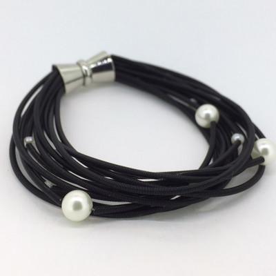 Black Piano Wire Multi-Pearl Bracelet