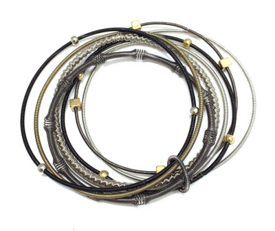 Multi Texture Piano Wire Bracelet with Gold/Silver Beads