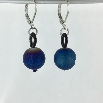 Black Piano Wire w/ Blue Geode Earring