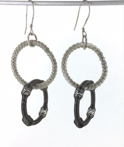 Small Silver and Slate Double Loop Piano Wire Earring