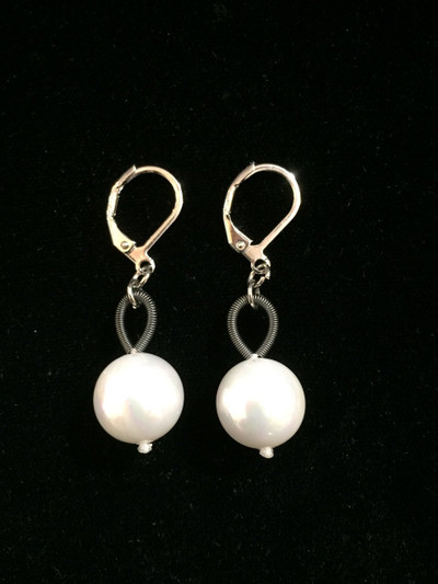Slate Piano Wire with White Pearl Drop Earrings