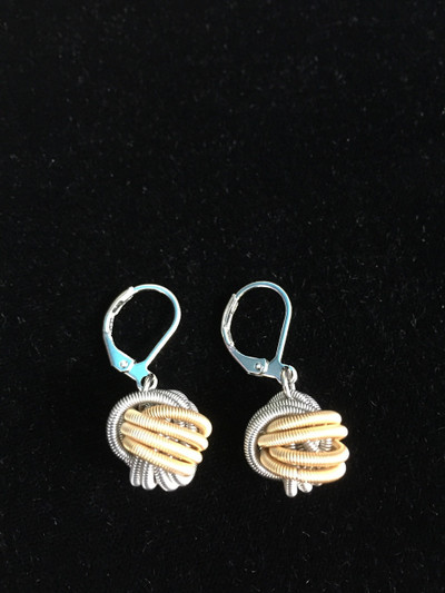 Silver Gold Multi Piano Wire Knot Earrings