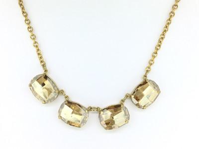 Gold Champagne Swarovski Crystal Necklace