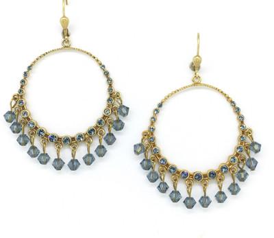 Gold Circle Earring  w/ Indian Sapphire Swarovski Crystal Beads