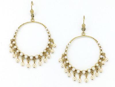 Gold Circle Swarovski Earrings w/ Pearls