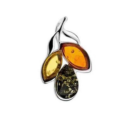 Multi-color Amber Leaf Pendant