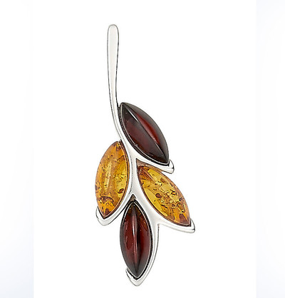 Pendant with cherry amber and honey amber cabochons