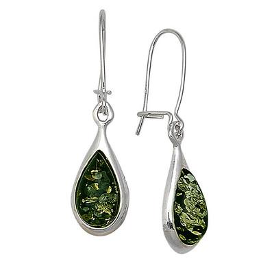 Green Amber Teardrop Earrings