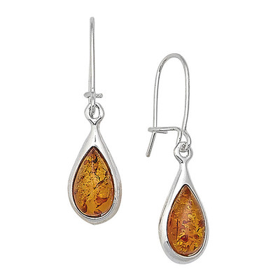 Cognac Amber Teardrop Earrings