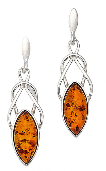 Celtic Earrings with Marquise Cognac Amber