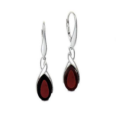 Sterling Silver Teardrop Cherry Amber Earrings