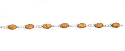 Sterling Silver Bracelet with Cognac Amber Teardrops