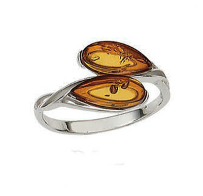 Sterling Silver Teardrop Ring in Cognac Amber - Size 7 Only