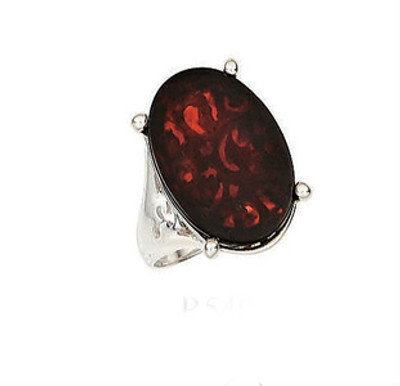 Sterling Silver Ring in Cherry Amber - Size 8 Only