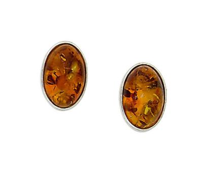 Bezel Set Oval Earrings in Honey Amber