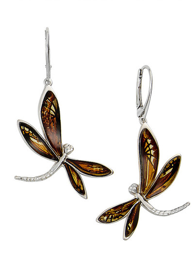Sterling Silver Etched Dragonfly Earrings in Amber